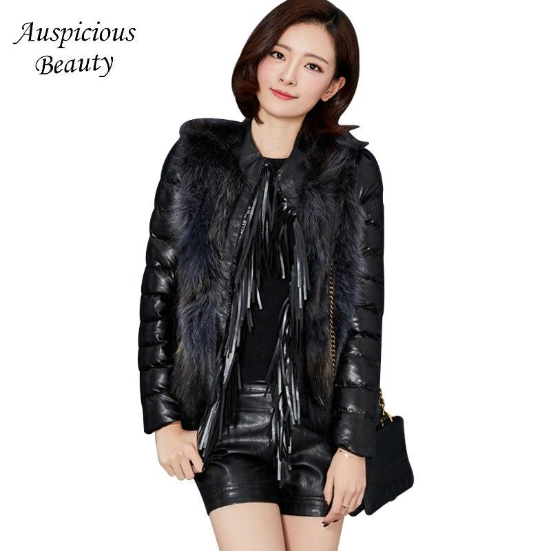 2017 High Quality Women Winter Down Coat Short Jacket Outerwear Raccoon Fur Collar Female PU Jackets Womens down Jacket CXM356