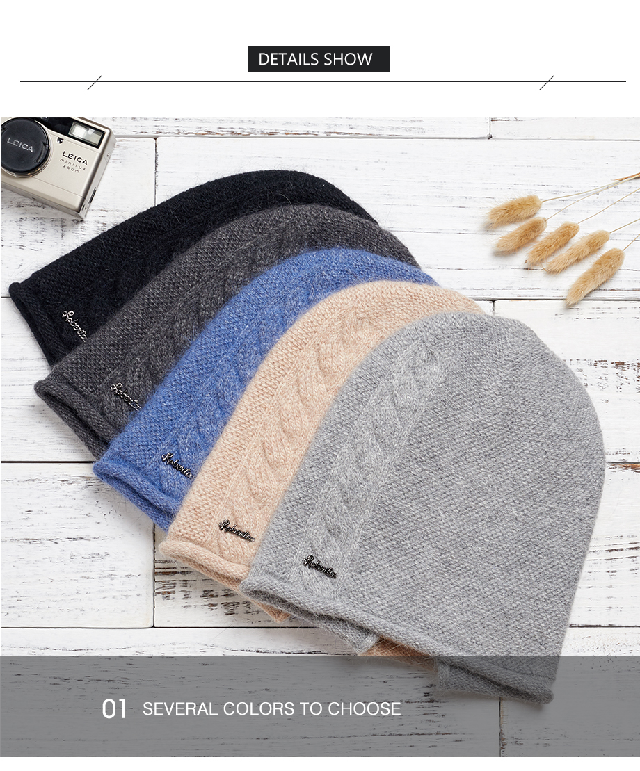 2018 New Women Baggy Bonnet Beanies Female Rabbit Hair Wool Knitted Winter Hats Soft Skiing Slouchy Beanie With Back Opening (18)