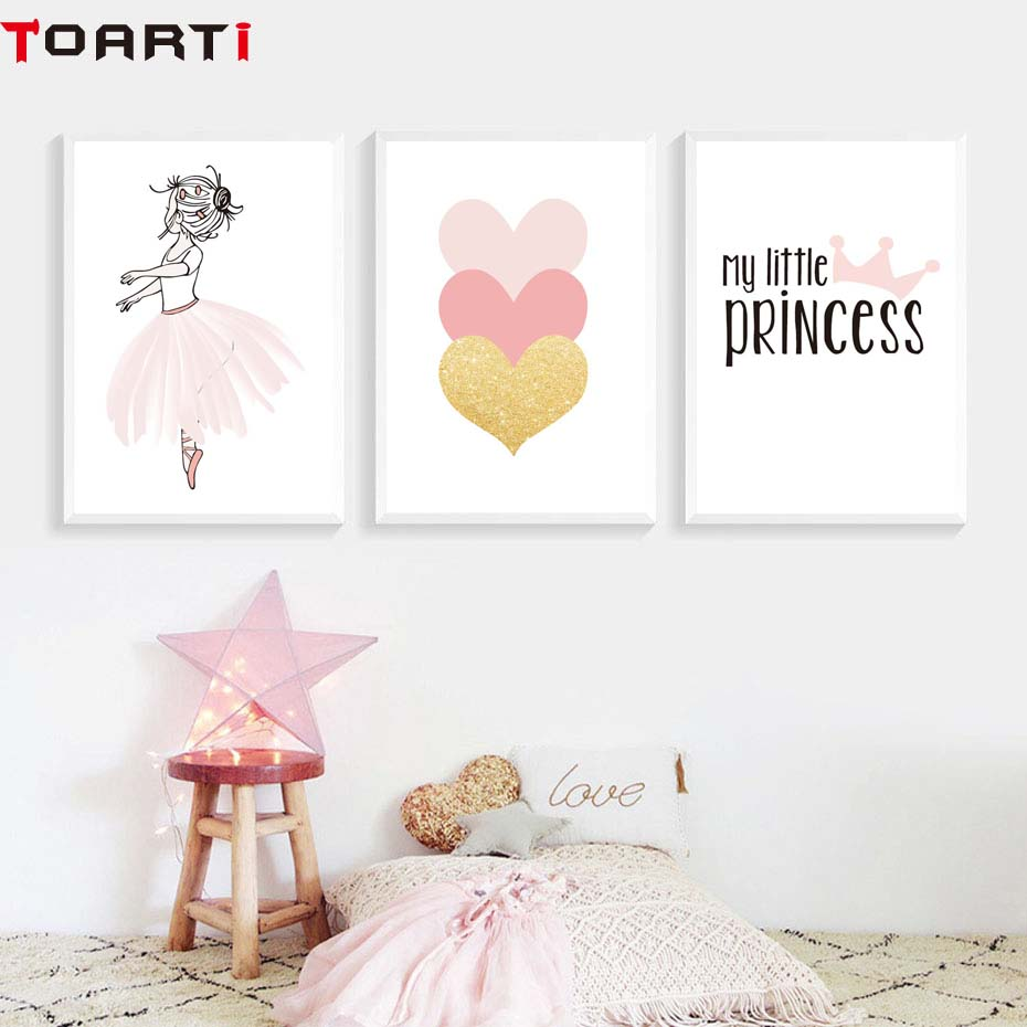 Pink Girls Princess Crown Heart Poster&Prints Modern Home Decor Canvas Painting Modular Wall Picture For Bedroom Wall Art Murals (2)
