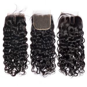 Image 5 - Alibele 髪マレーシアの水波バンドルと閉鎖 100 レミー人間の髪のバンドル閉鎖レミーの毛 3 バンドル閉鎖