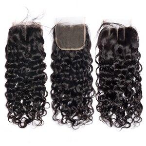 Image 5 - Alibele Hair malezyjski Water Wave zestawy z zamknięciem 100 Remy wiązki ludzkich włosów z zamknięciem Remy włosy 3 zestawy z zamknięciem