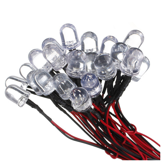 DSHA 50 pcs 12V 20cm LED Pre wired 10Mm white/red/green/yellow/pink