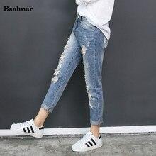 Джинсы Femme рваные джинсы для женщин Женский отверстие джинсы женские узкие брюки свободные штаны-шаровары нищий плюс размер женские джинсы брюки