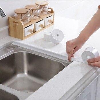 ANHO 3.35M איטום רצועת מטבח פינת קו כיור אנטי עכירות Dustproof עמיד למים אמבטיה קיר דבק עצמי דבק לבן