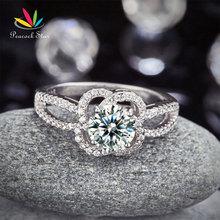 Pavo real Floral Estrella 925 Promesa de Compromiso Del Anillo de Bodas de Plata 1 Ct Creado Diamond Joyería CFR8251