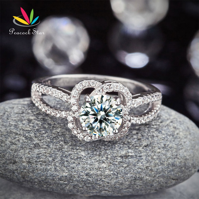 Peacock Star Floral 925 Sterling Silver Wedding Promise Engagement Ring 1 Ct Created Diamond Jewelry CFR8251
