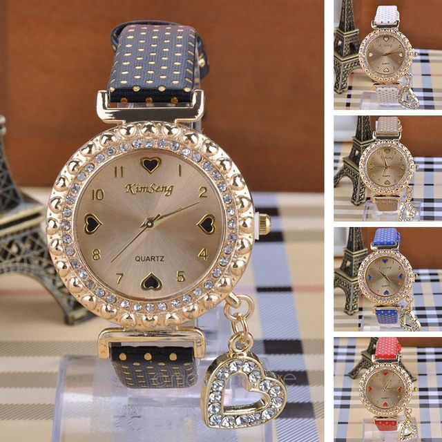 Women Watch Rhinestone Heart Pendant Relojes Mujer Leather Quartz Relogio Femini