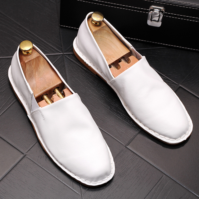 0c63ac419ff 2019 New Shoes men lovers White Black Genuine Leather Loafers Fashion Round  Toe Dress Driver lightweight sapatilhas homem