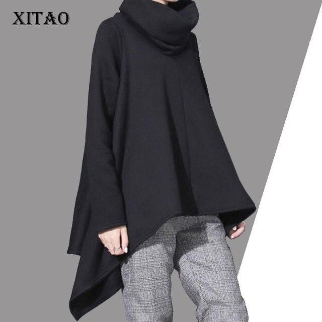 [Xitao] Новинка 2017 Весна Европа Модные женские неровный подол Свободные Водолазка Длинные рукава сплошной цвет пуловер Кофты LL099
