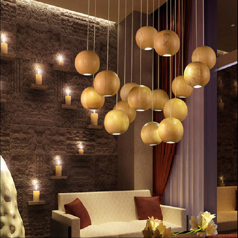 Solid Wooden Village Staircase Wooden LED pendant lamp Shop Simple Restaurant Cafe Solid Wood Pendant lights MZ56 lo1018