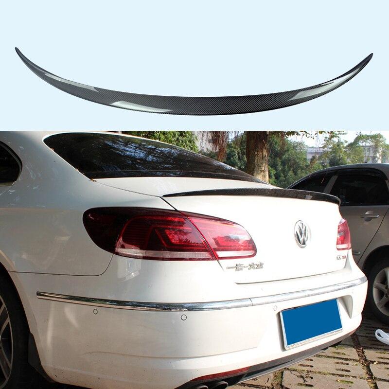 For Volkswagen VW CC Passat Spoiler 2009-2016 Car Trunk Decoration Tail Wing VOTEX Style Black Carbon Fiber Rear Wing Spoiler universal carbon fiber car keyhole decoration ring for volkswagen series silver black blue
