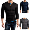 2016 Men's T-Shirt Brand New Long Sleeve T Shirt Double O Neck Henley XXXXL Shirt Casual Men Autumn Tee Solid Color Slim Fit Top