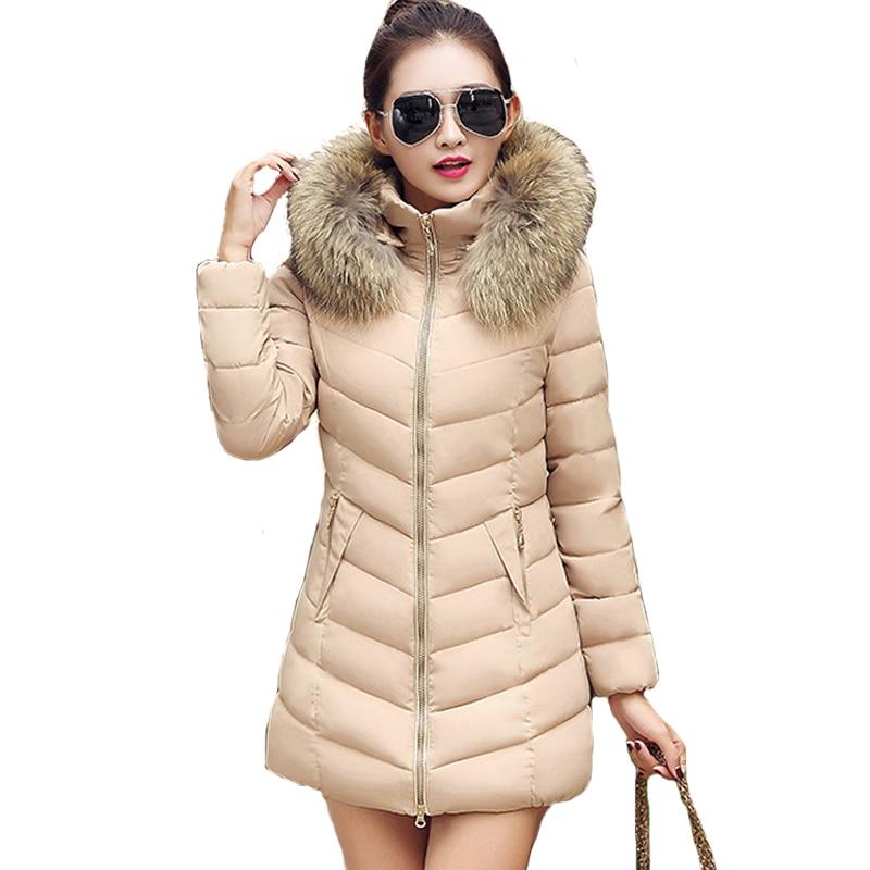 2019 fur collar women winter thicken warm coat hooded long   parka   female outerwear slim jacket chaqueta feminino plus size 4XL