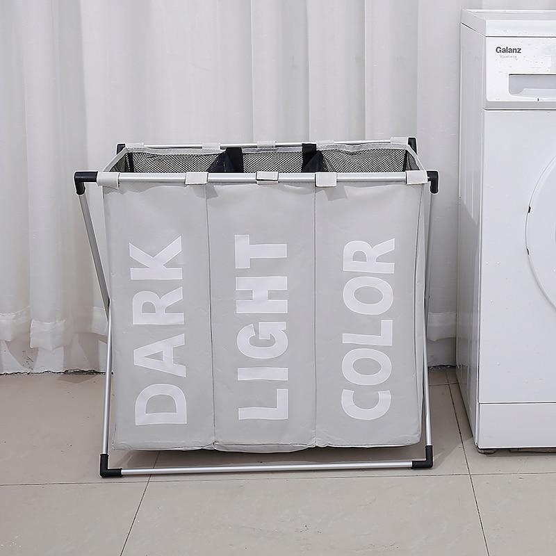 SHUSHI waterproof foldable home laundry basket Three grid dirty cloth organizer storage bucket collapsible large laundry