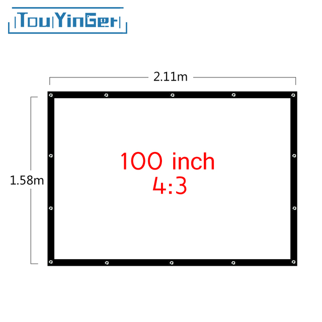 Touyinger Projector Accessories 100 Inch 4:3 Portable Projector Screen Plastic Screen For Home Theater Projector For Travel