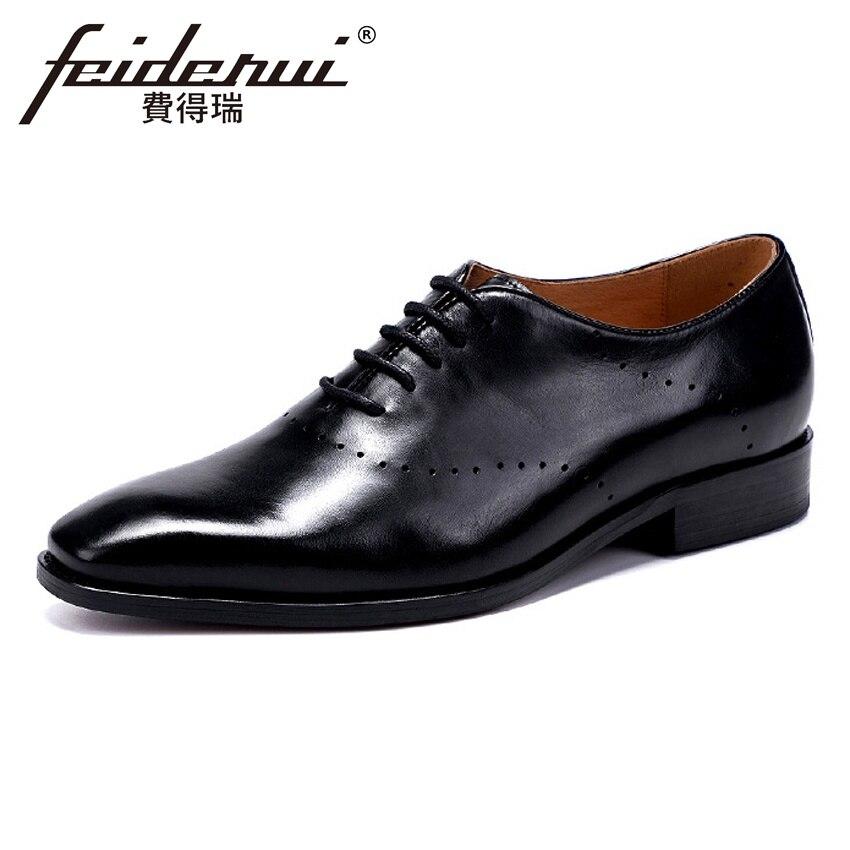 Mano Vestido 46 Hecha Grande Oxfords Asd80 A 37 Toe Formal Boda De Hombre Calidad Negro Zapatos La Brogue marrón Hombres Cuero Punta Alta Tamaño Genuino zPHEE