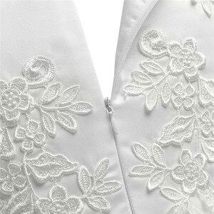 Image 5 - Biały/kość słoniowa bez rękawów długość herbaty pierwsza komunia kwiatowe sukienki dla dziewczynek dla dzieci kwiecista koronka korowód przyjęcie weselne suknia wieczorowa