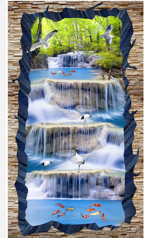 Cascade paysage grue poisson 3D étage autocollant plancher 3d papier peint salle de bains étanche papier peint - 3