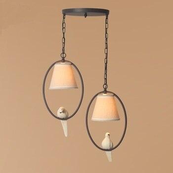 1/2/3 teste lampade stile country Lampade A Sospensione arte Nordic corridoio Terrazza Ristorante pastorale Uccello FG910