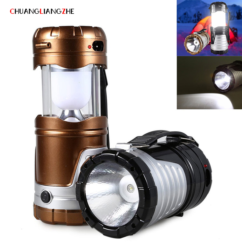 CHENGLIANGZHE Multifunctional portable lamp led camping light solar rechargeable flashlight camping tent lights outdoor lighting
