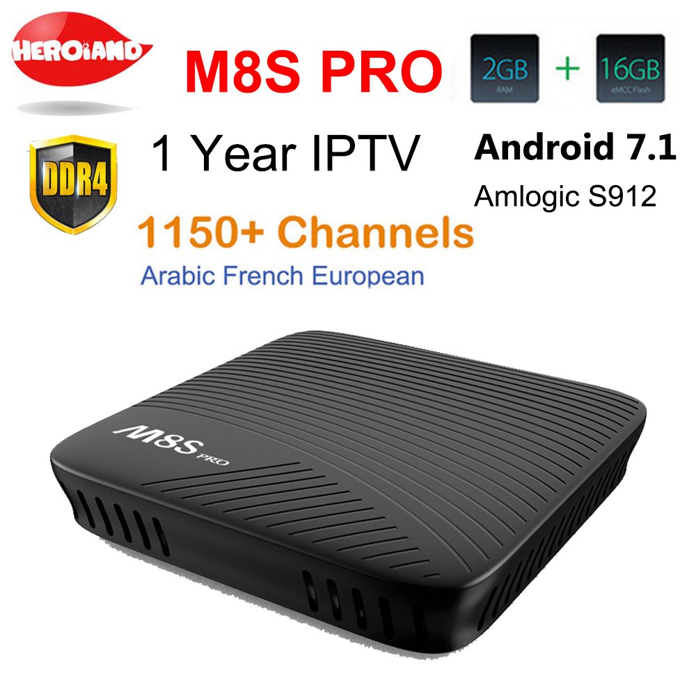 M8S Pro Amlogic S912 Android 7.1 TV BOX HD Smart tv Italy French Arabic iptv Box with 1 Year europe server 1150+ Channels Canal+ italy iptv french iptv box xnano x5 android 6 0 tv box hd smart tv box 1 year europe server 3500 channels
