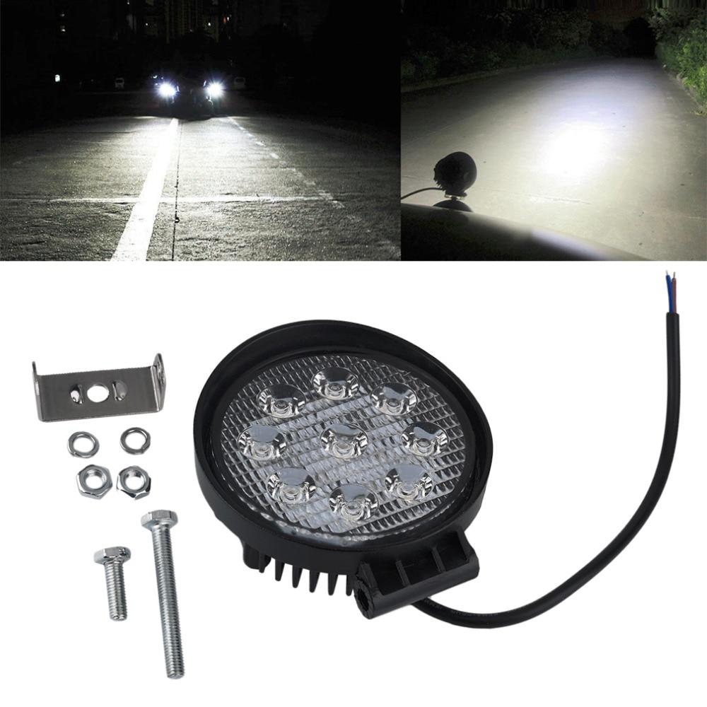 27W LED Work Light 12V IP67 Spot/Flood Fog Light Off Road ATV Tractor Train Bus Boat Floodlight ATV UTV Work Light