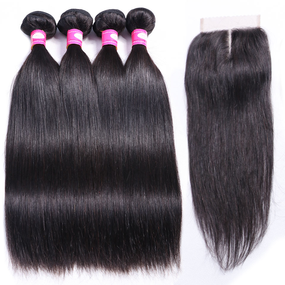Brazilian Straight Hair Weave Bundles With Closure Remy 3 4 Bundles Brazillian Straight Hair With Closure