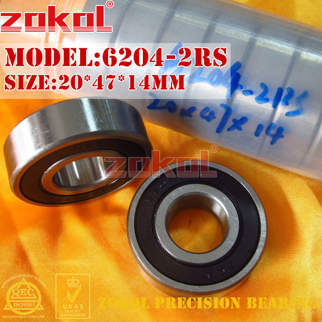 ZOKOL 6204RS bearing 6204 2RS 2RZ 180204 Deep 6204-2RS Groove ball bearing 20*47*14mm