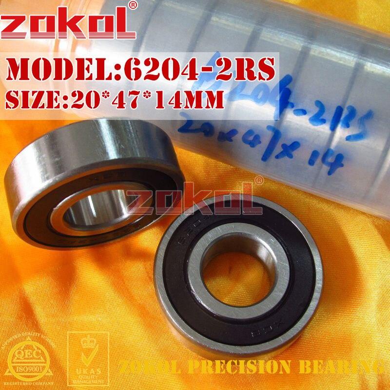 ZOKOL 6204RS Bearing 6204 2RS Z3V3 2RZ Z1 6204zz S6204ZZ 6204-2RSN Deep Groove Ball Bearing 20*47*14mm