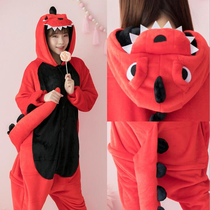 Dinosaur Kigurumi Onesies Costumes Men and women Hooded animal cartoon pajamas red Dinosaur home lovers long sleeve Jumpsuits