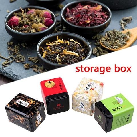 1PC Vintage Tea Caddy Pastoral Candy Tin Mini Iron Storage Boxes Sealed Coffee Powder Cans Tea Leaves Container Metal Organizer Multan