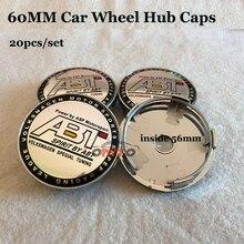 Emblema do carro emblema 60mm PVC Car centro de Roda hub caps para vw Passat B6 B7 CC Golf Jetta MK5 MK6 Tiguan 20 pçs/set cor ABT logotipo
