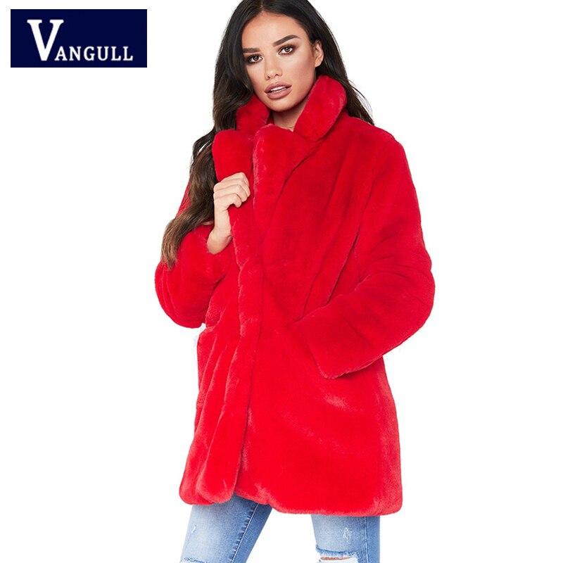 90f5191492 yellow Vangull blue Épaisse Lapin Femmes Outwear Fourrure White De Red Mode  black Automne Poche Peluche ...