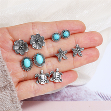 L&H 5Pairs/Set Vintage Flower Stud Earrings Women Fashion Round/Starfish/Turtle Bohemian Silver Color Ear Accessories