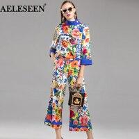 AELESEEN Runway Autumn Women Sets Fashion 2018 Flower 3/4 Sleeve Print Turtleneck Top + XXL Prairie Chic Loose Pant Casual Suits