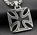 CHOPPER IRON MALTESE CROSS SOLID STAINLESS STEEL MENS CHARM PENDANT NECKLACE PP7