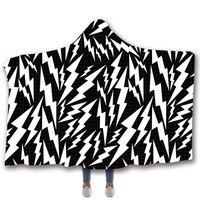 Scarves & Wraps Hooded Blanket 3D Print Harajuku Lightning zebra black and white hooded poncho scarf shawl manteau femme hiver