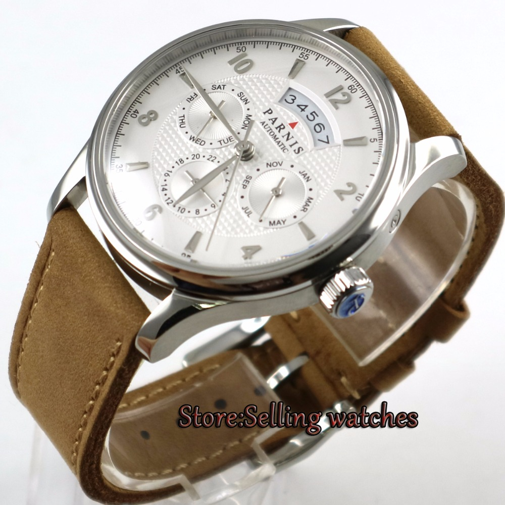 42mm parnis white dial power reserve sapphire glass Multifunction 26 jewels MIYOTA 9120 Automatic movement men's Watch 42mm parnis withe dial sapphire glass miyota 9100 automatic mens watch 666b