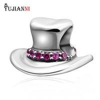Authentique 925 Sterling Argent Fedora Chapeau Charme Perles Pour Européenne Marque Style Femme Bracelets Collier DIY Fabrication de Bijoux