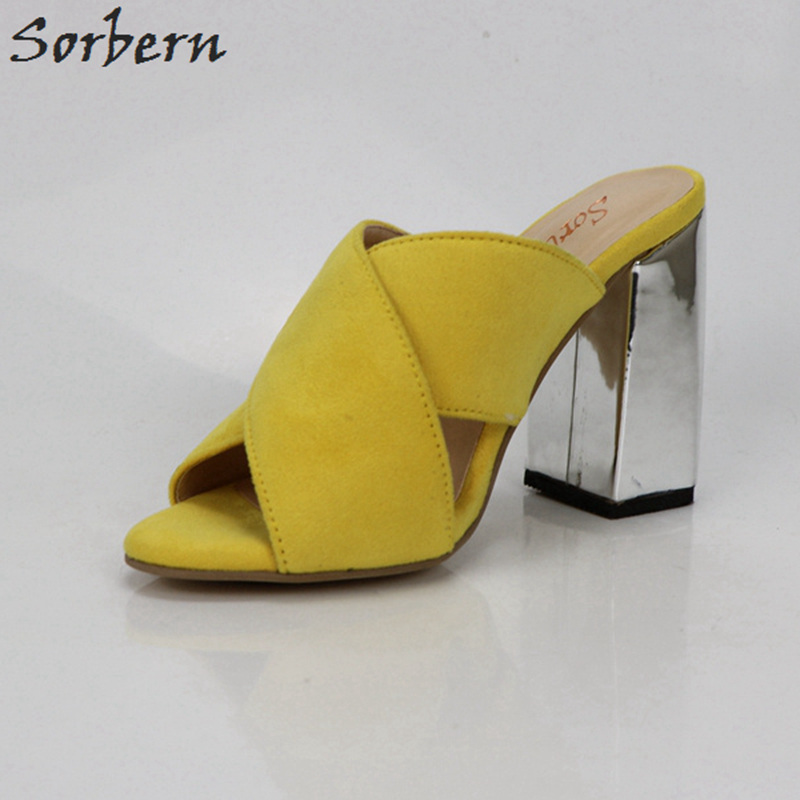 c0a24bd6db9 US $73.95 15% OFF|Aliexpress.com : Buy Sorbern Yellow Square Chunky Heels  Open Toe Slippers Women Shoes Cross Banded Thick Heel Slides Ladies  Outdoors ...