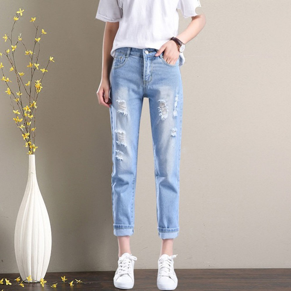 AudWhale Summer Ripped Boyfriend   Jeans   For Women High Waist Ankle Length Women;s Loose Harem Pants Casual Women Denim Pants