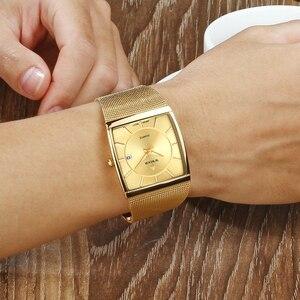 Image 4 - WWOOR relojes de marca de lujo para hombre, reloj masculino de pulsera cuadrado de cuarzo dorado, resistente al agua, 2019