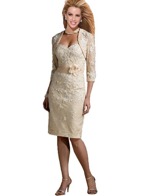 Mãe Dos Vestidos de Noiva Plus Size Rendas Elegante Joelho Comprimento Da Calça Ternos Do Noivo Para Casamentos 2017 vestido de Vestido