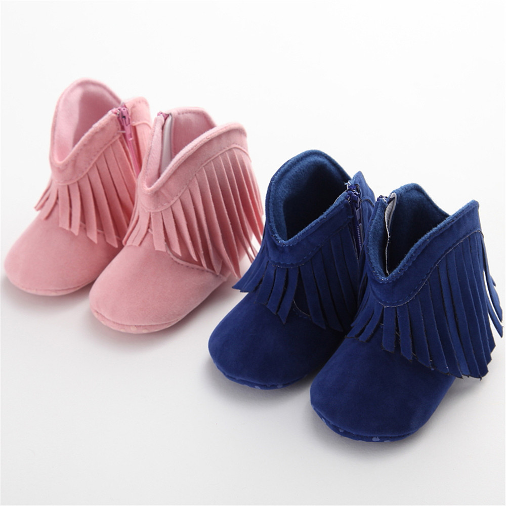 0-18 Months Kids Fringe Zip Cowboy Baby Boots Baby First Walker Shoes 11-13CM Soft Soled Shoe Solid Color For Wedding Christmas