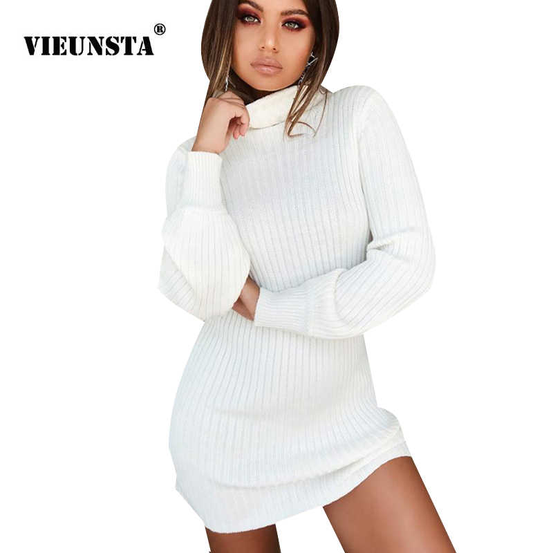 feb285bd04b VIEUNSTA Women Turtleneck Warm Ribbed Sweater Dress New Autumn Winter Long  Sleeve Solid Knitted Dress Femme