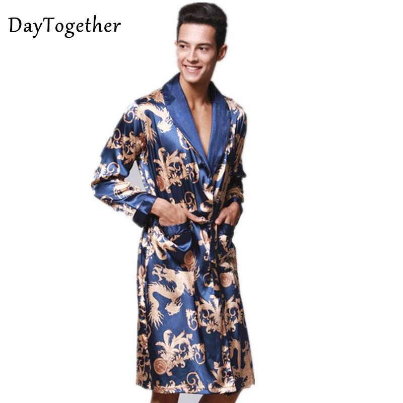 Men's Silk Bath Robe Chinese King Dragon Sleepwear Home Clothes Satin Pajamas Long Kimono Dressing Gown Bathrobe For Men