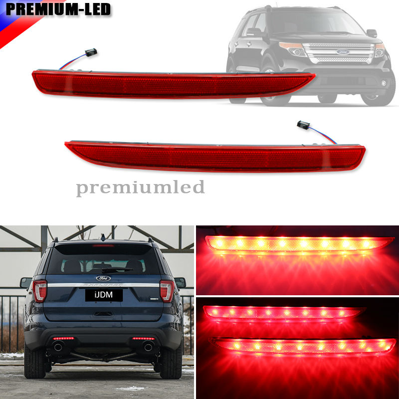 2 Euro Style Driver Passenger Sides LED Bumper Reflectors Rear Fog Brake Lights For 2016