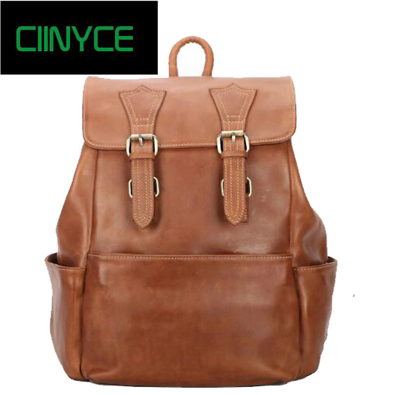 Brand Cowhide Genuine Leather Back pack Men Oil Wax Travel Backpack Real Nature Cow Skin School Laptop Weekend Overnight Bag kajie famous brand designer backpack for women 2018 retro genuine leather female back pack oil wax cow leather ladies travel bag