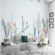beibehang Simple hand-painted American pastoral cactus custom wallpaper 3d living room TV background wall for walls