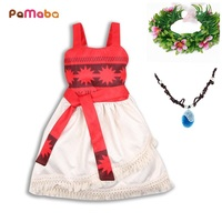 PaMaBa Off Shoulder Baby Girls Vaiana Party Dress Up Sashes Belted Summer Beach Kids Moana Costume